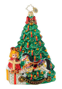 RADKO 1015050 ON CHRISTMAS MORNING - TREE - DOLL - ROCKING HORSE - RETIRED ORNAMENT (Q4)