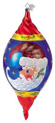 RADKO 1011496 MOON DREAM SANTA - CHRISTOPHER'S FAVORITE - LARGE DROP WITH PAINTED SANTA ORNAMENT - TWISTED (CF3)