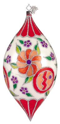 RADKO 1011611 DECO FLORAL - DROP ORNAMENT - CHRISTOPHER'S FAVORITE (CF)