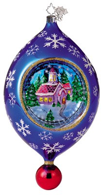 RADKO 1011672 COUNTRY SCENE SPARKLER - CHRISTOPHER'S FAVORITE - LARGE DROP WITH SCENE AND REFLECTOR ORNAMENT (CF)