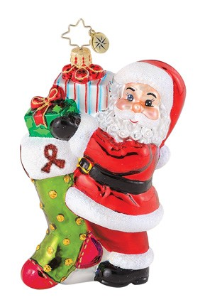 RADKO 1014985 HIGH HOPES - AIDS CHARITY - SANTA AND STOCKING - RETIRED ORNAMENT (Q)