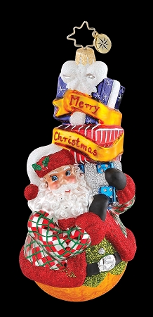 RADKO 1015236 ARGYLE CLAUS - DESIGNER FOR A DAY - LYNN - SANTA WITH GIFTS ORNAMENT  - NEW 2010 (101)