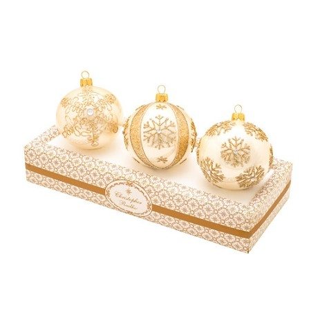 RADKO 1017342 BOXED GLASS SET - BEIGE WITH GOLD ORNAMENTS - MADE IN POLAND - NEW 2014