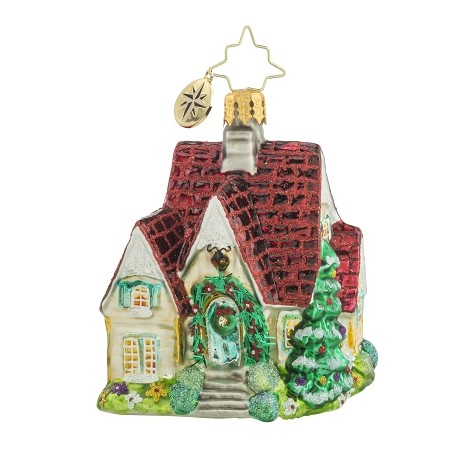 RADKO 1018165 PERFECT COTTAGE GEM - HOUSE WITH RED ROOF ORNAMENT - NEW 2016 (24)