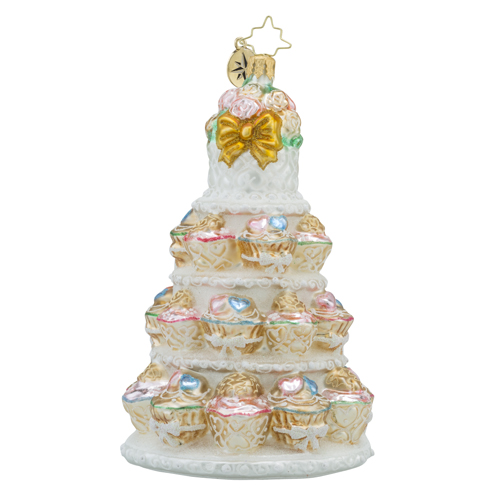 RADKO 1018184 TIERS OF JOY - CUPCAKE WEDDING CAKE ORNAMENT - NEW 2016 (16 - 5)