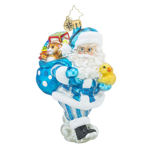 RADKO 1018186 TOYLAND DELIVERIES BOY - SANTA IN BLUE WITH RUBBER DUCKIE AND BAG OF TOYS - NEW 2016 (16 - 5)
