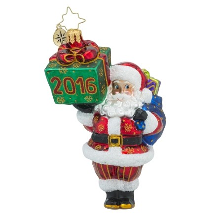 RADKO 1018187 WRAPPIN' UP 2016 - DATED 2016 - SANTA WITH A GIFT ORNAMENT - NEW 2016 (16-2)