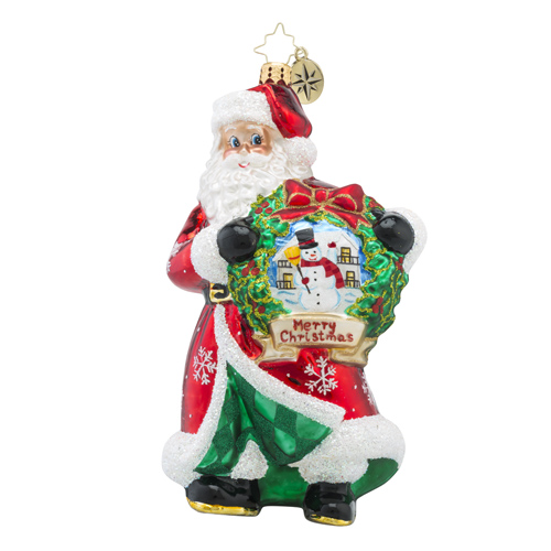 RADKO 1018192 YULETIDE TREASURE - SANTA HOLDING WREATH WITH PAINTED SCENE ORNAMENT - NEW 2016 (16 - 5)