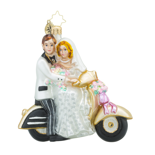 RADKO 1018199 SCOOT ALONG TO HAPPINESS - BRIDE AND GROOM ON MOTORCYCLE - WEDDING ORNAMENT - NEW 2016 (16 - 5)