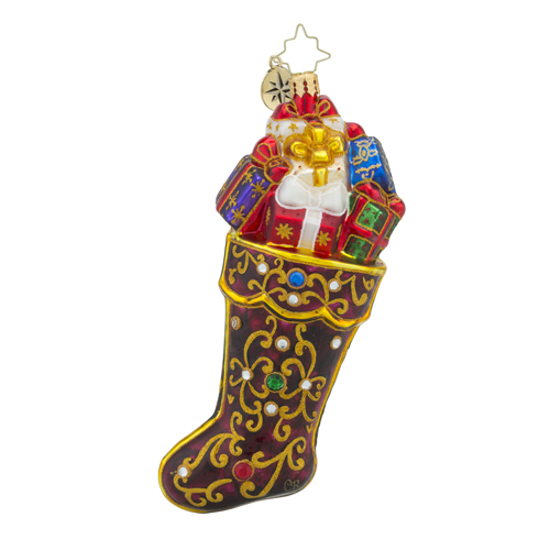 RADKO 1018206 SCARLET STUNNER - JEWELED STOCKING WITH GIFTS ORNAMENT - NEW 2016 (16 - 5)
