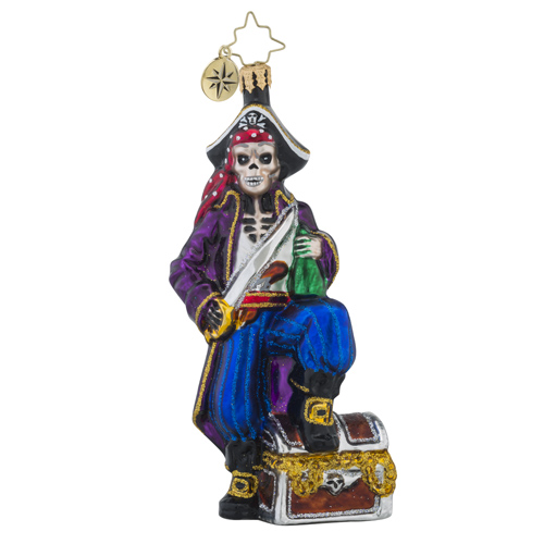 RADKO 1018210 BONEY BUCCANEER - PIRATE WITH TREASURE CHEST ORNAMENT - NEW 2016 (16 - 6)