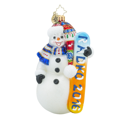 RADKO 1018220 SNOW EXTREME 2016 - DATED 2016 - SNOWMAN WITH SNOW BOARD ORNAMENT - NEW 2016 (16-2)