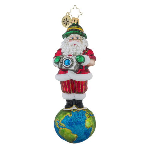 RADKO 1018225 SHUTTERBUG SANTA - SANTA ON TOP OF THE WORLD WITH CAMERA ORNAMENT - NEW 2016 (16 - 6)