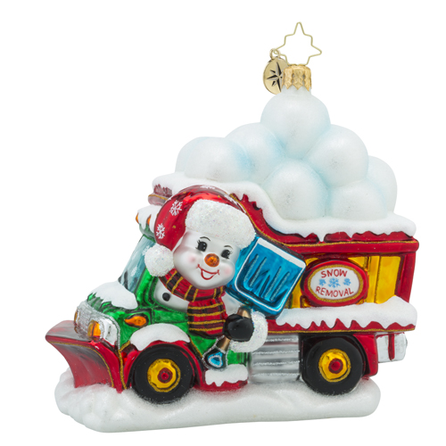 RADKO 1018229 CLEARING THE WAY FOR CHRISTMAS - SNOWMAN DRIVING TRUCK FULL OF SNOW BALLS - NEW 2016 (16 - 6)
