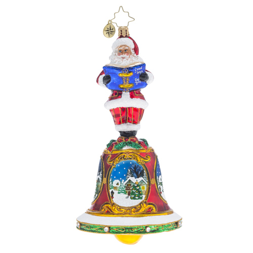 RADKO 1018239 BELLS WILL BE RINGING - SANTA ON BELL WITH PAINTED SCENES ORNAMENT - NEW 2016 (16 - 6)