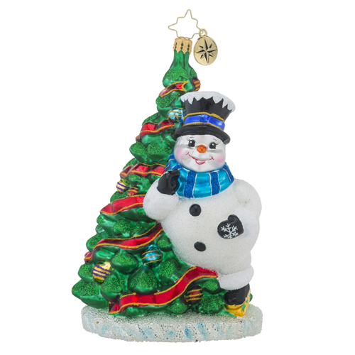 RADKO 1018249 DANCING ON ICE - SKATING SNOWMAN WITH TREE ORNAMENT - NEW 2016 (16 - 7)