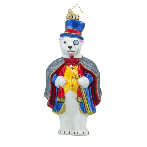 RADKO 1018274 POLAR EYES-ING - POLAR BEAR WITH MONACLE AND CANE ORNAMENT - NEW 2016 (16 - 7)