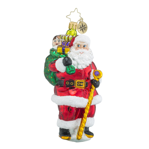 RADKO 1018279 NICK OF ALL TIME - SANTA WITH STAFF ORNAMENT - NEW 2016 (16 - 8)