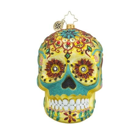RADKO 1018281 CALAVERA DE ORO - DAY OF THE DEAD SUGAR SKULL ORNAMENT - NEW 2016 (H7)