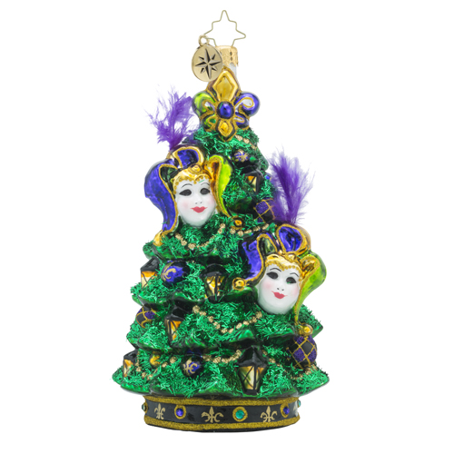 RADKO 1018284 CHRISTMAS MASQUERADE - MARDI GRAS MASKS ON TREE ORNAMENT - NEW 2016 (16 - 8)