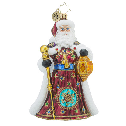 RADKO 1018285 GOLDEN TREASURES - GLORIOUS SANTA WITH STAFF AND LANTERN ORNAMENT - NEW 2016 (16 - 8)