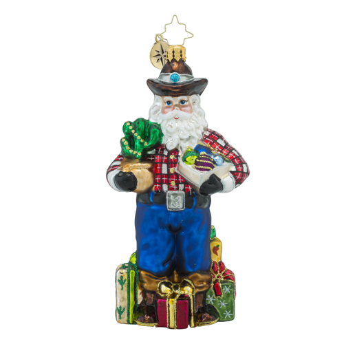 RADKO 1018291 HOLIDAY HO-DOWN - COWBOY SANTA WITH GIFTS - NEW 2016 (16 - 8)