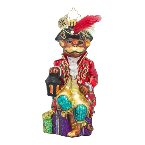 RADKO 1018300 LIGHT THIS WAY -  JEWELED MONKEY WITH LANTERN ORNAMENT - NEW 2016 (16 - 8)