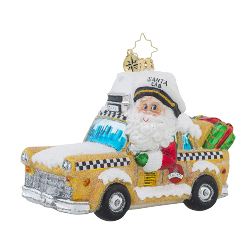 RADKO 1018305 HOLIDAY ON BROADWAY - NEW YORK CITY - SANTA DRIVING YELLOW CAB ORNAMENT - NEW 2016 (16 - 8)