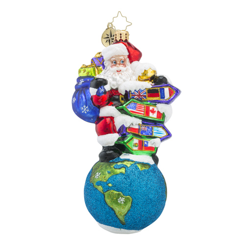 RADKO 1018308 SANTA'S BIG ADVENTURE - SANTA ON TOP OF THE WORLD WITH COUNTRY SIGNS ORNAMENT - NEW 2016 (16 - 9)