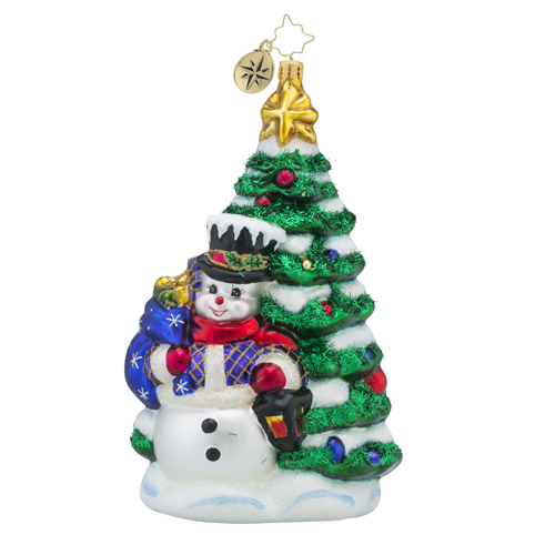 RADKO 1018313 ALL LIT UP - SNOWMAN AND TREE ORNAMENT - NEW 2016 (16 - 9)