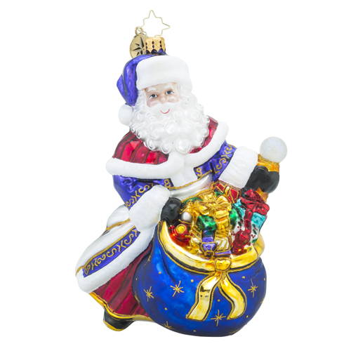 RADKO 1018317 ELEGANT ENTRANCE - JEWELED SANTA WITH BAG OF GIFTS ORNAMENT - NEW 2016 (16 - 9)