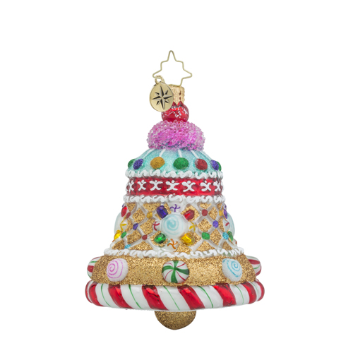 RADKO 1018337 CANDY CLAPPER - GINGERBREAD AND CANDY BELL ORNAMENT - NEW 2016 (16 - 10)