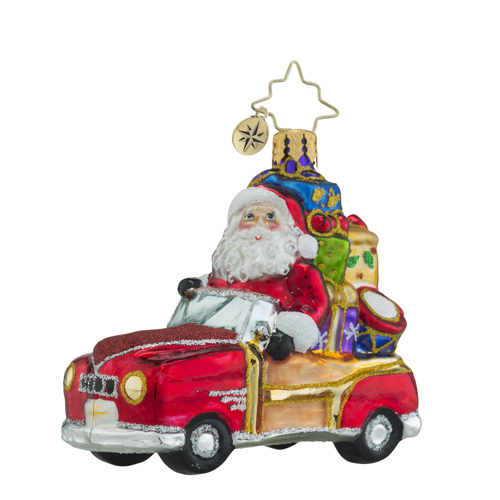 RADKO 1018341 VINTAGE RIDE GEM - SANTA IN RED CAR - NEW 2016 (24)