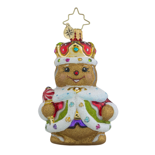 RADKO 1018359 GINGER KING LITTLE GEM - GINGERBREAD MAN WITH CROWN ORNAMENT - NEW 2016 (24-1)