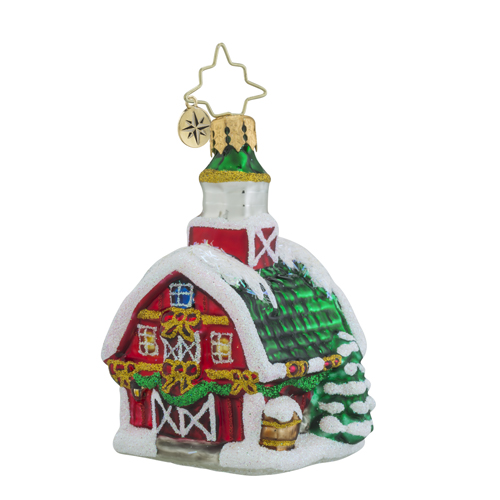 RADKO 1018363 COUNTRY CHRISTMAS LITTLE GEM - SNOW COVERED BARN ORNAMENT - NEW 2016 (24-1)