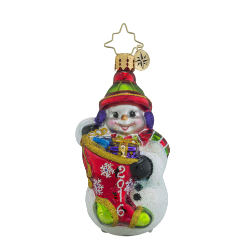 RADKO 1018368 A YEAR TO GIVE LITTLE GEM - DATED 2016 - SNOWMAN WITH STOCKING ORNAMENT  - NEW 2016 (24-1)