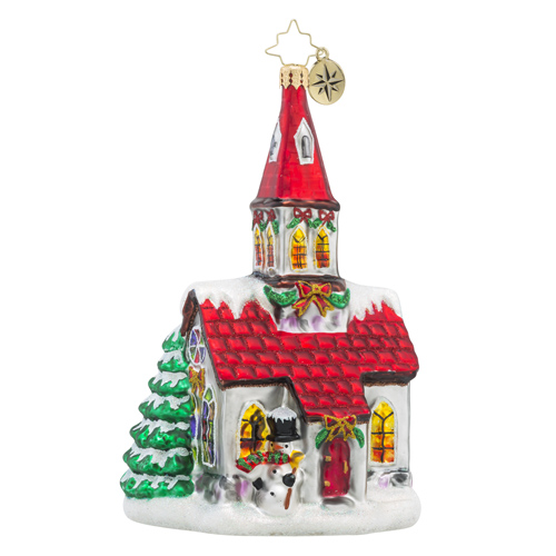 RADKO 1018384 ALL ARE WELCOME - RELIGIOUS - RED ROOF CHURCH ORNAMENT - NEW 2016 (16 - 10)