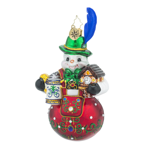 RADKO 1018386 BAVARIAN FROST - SNOWMAN WITH BEER MUG AND COO COO CLOCK ORNAMENT  - NEW 2016 (16 - 10)