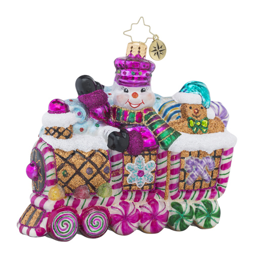 RADKO 1018388 SWEET RIDE - GINGERBREAD TRAIN WITH CANDY AND SNOWMAN ORNAMENT - NEW 2016 (16 - 10)