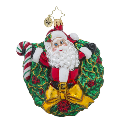 RADKO 1018389 REGAL RINGLET - SANTA IN WREATH WITH CANDY CANE ORNAMENT - NEW 2016 (16 - 10)