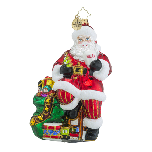 RADKO 1018393 SANTA'S HOLIDAY BREAK - SANTA WITH COOKIES AND MILK ORNAMENT - NEW 2016 (16 - 10)