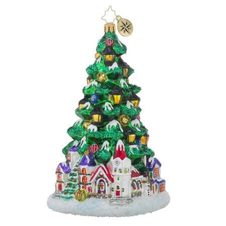 RADKO 1018395 TANNENBAUM GLOW - LIMITED EDITION - TREE WITH VILLAGE ORNAMENT - NEW 2016 (16-2)