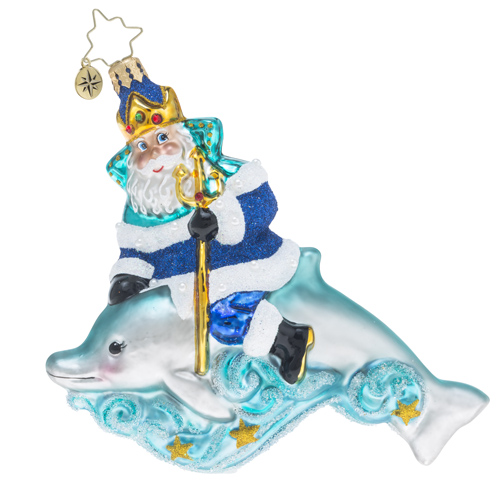 RADKO 1018398 KING OF THE SEA - SUMMER - POSEIDON SANTA RIDING A DOLPHIN ORNAMENT - NEW 2016 (16 - 11)