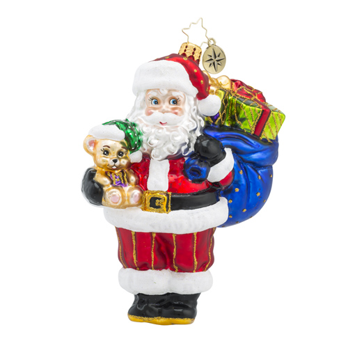 RADKO 1018403 BEARING GIFTS - TRADITIONAL SANTA WITH BAG OF PRESENTS AND TEDDY BEAR ORNAMENT - NEW 2016 (16 - 11)
