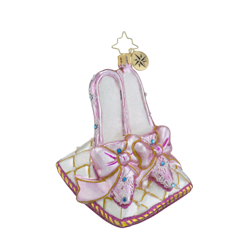 RADKO 1018404 SLIPPER MAGIC - JEWELED SLIPPERS ON PILLOW ORNAMENT - NEW 2016 (16 - 11)