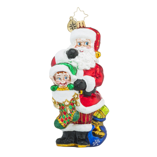 RADKO 1018405 HIDEAWAY HELPER - SANTA WITH VENTRILOQUIST DUMMY IN STOCKING ORNAMENT - NEW 2016 (16 - 11)