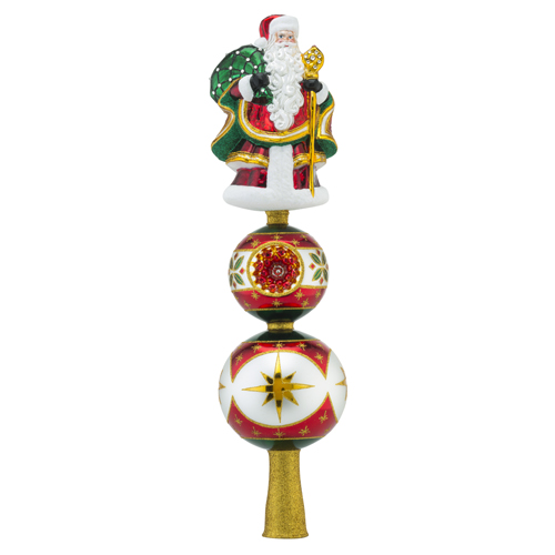RADKO 1018408 REFLECTIONS OF SANTA FINIAL - SANTA ON BALL WITH REFLECTOR  - NEW 2016 (FIN7)