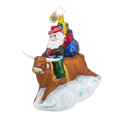 RADKO 1018412 8 SECOND NICK - COWBOY SANTA RIDING BULL ORNAMENT - NEW 2016 (16 - 11)