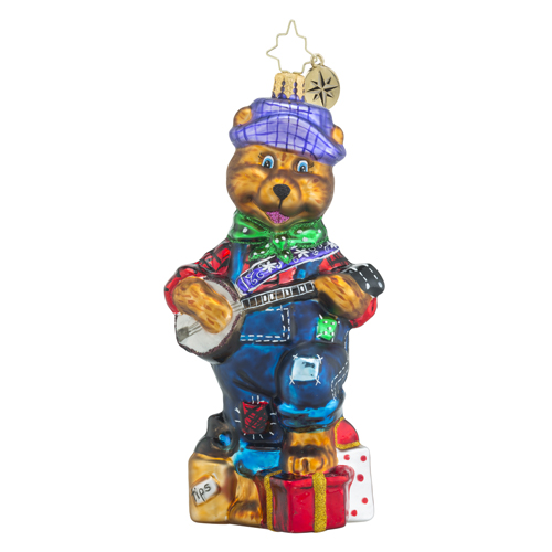 RADKO 1018416 BEARLY PICKIN' & GRINNIN' - BEAR PLAYING BANJO ORNAMENT - NEW 2016 (16 - 11)