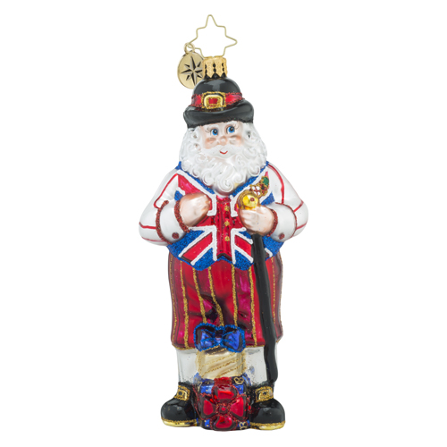 RADKO 1018419 UK KNICKERS - SANTA WITH STAFF AND UNION JACK VEST - BRITISH ORNAMENT - NEW 2016 (16 - 11)